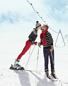Cute idea for engagement photos, wedding announcements or save the dates:) Ski slope bunnies in love!