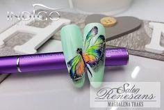 Ważka namalowana żelami nail art indigo. #indigo#żel#gel#nailart#paznokcie#koszalin#szkolenia#magdalenatraks.
