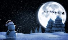 snowman and santa claus with moon on night full stars sky - banner backgroung. You can buy my artwork >>> #santaclaus #santa #christmas #holiday #merry christmas# toys #disney #kids #children #christmas night #holiday #cartoons for children #tree #frozen  #winter #christ #snow #happy #xmas #background #celebration #traditional #tradition #decorated #magical #holidays #graphics #new year #gifts #family #shopping #gloves #sleigh #sledge #reindeer #finland #moon #sky #space #stars #night…