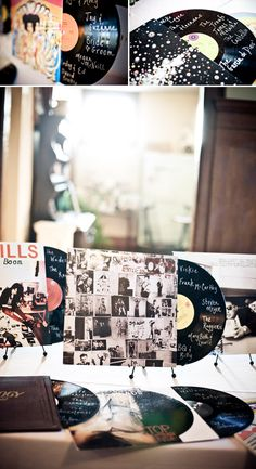 Music-inspired wedding guest book adds a vintage twist, photography by JAGstudios