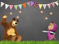 Tarjeta de invitación Masha y el oso