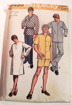 f150190e9d8 1970s Mens Pjs Pajamas Nightshirt sleep pants shirt button front vintage  sewing pattern Simplicity 9433 Size XL Chest 46 48