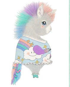 Eenhoorn Maruska #illeke #illustratie #handmade #eenhoorn #rainbow #kids #kidsroom #poster www.illeke.nl