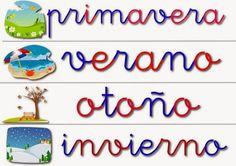 Maestra de Primaria: Las estaciones del año. El calendario. Tiempo atmosférico. Carteles para el aula. Vídeo en LSE.