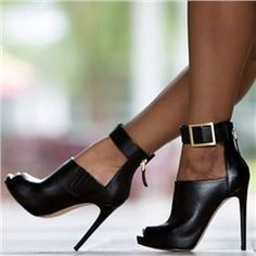 J'adore le galbe du coup de pied!!!!! Shoespie Black Gebuine Leather Zipper Buckles Ankle Boots
