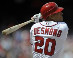 April 12th - WSH vs CIN - Shortstop Ian Desmond up to bat during the 5th. Desmond and Danny Espinosa score to bring the Nats up to 2-0.