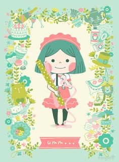 Cute little girl pastel Kawaii pink Kawaii Illustration, Children's Book Illustration, Character Illustration, Digital Illustration, Lolita Anime, Cute Art, Illustrations Posters, Illustrators, Character Design