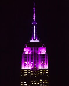 Glowing in all purple tonight our tower lights are honoring the @alzassociations third annual Brain Ball an event that brings together influential business political and civic leaders to drive the fight against Alzheimers disease. [TBD trending hashtag] #EmpireStateBuilding by empirestatebldg