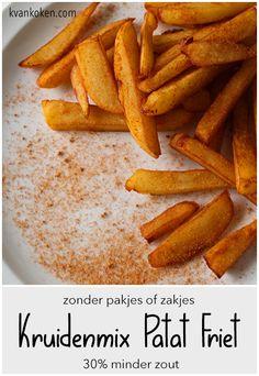 Kruidenmix voor patat-friet – De K van Koken Dutch Recipes, Baking Recipes, Great Recipes, Baking Tips, Healthy Dessert Recipes, Vegan Recipes, Bbq, Herb Butter, Different Recipes