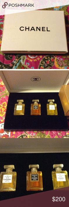 Vintage Chanel perfume gift set Vintage Chanel perfume gift set. This is very old so the box is a worn and the perfume may not be good. The bottles are beautiful for jewelry making or this could be used for a photo shoot. Make me an offer. Chanel Other