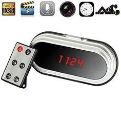 Paishida 32GB Newest Home Security HD 1080P Monitor Micro Digital Clock 160 Degree CCTV Mini DV DVR Alarm Hidden Spy Camera Mini Camera Camcorder Clock 1920×1080 Video Recorder (32GB Memory Card)