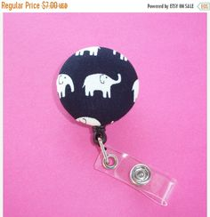 SALE  Retractable ID Badge Holder  Fabric Button   black by Laa766 chic / cute / preppy / fabric / covered button / clip-on / retractable cord / patterned / co-worker or school gifts