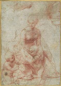 Raphael Santi / Raffaello Sanzio | Madonna and Child with the Infant Saint John the Baptist; Study for the Right Arm of the Infant Saint John (upper left); Study for Drapery (upper right). Red chalk. The Metropolitan Museum of Art, New York.