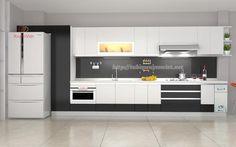 Mẫu tủ bếp đẹp nhựa pvc chữ i nhà chị Nguyệt