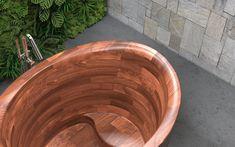 Aquatica True Ofuro Duo Wooden Freestanding Japanese Soaking Bathtub #Ofuro #FreestandingBathtub #Japanesebath #soakingbath #woodenbath