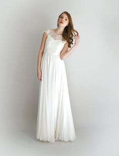 Lace and Silk Wedding Gown - Adelie