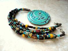 Earthy+Statement+Necklace+Boho+Jewelry+Sun+by+YviBJonesCeramics,+$78.00