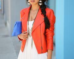 Orange/salmon leather moto jacket
