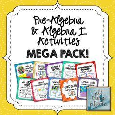 Pre-Algebra  Algebra I Activities MEGA Pack!  Over 100 games and activities that will ROCK your classroom :)