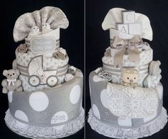 Gender Neutral/Grey and White Diaper Cake www.facebook.com/DiaperCakesbyDiana
