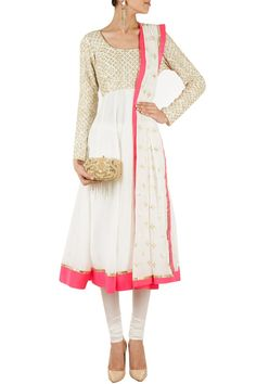 Crème and pink embroidered anarkali BY ANUSHKA KHANNA
