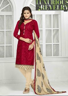 http://www.thatsend.com/shopping/lp/fvp/TESG181500/i/TE240326/iu/red-chanderi-churidar-salwar-kameez  Red Chanderi Churidar Salwar Kameez Apparel Pattern Embroidered. Stiching Type Unstitched. Work Embroidery, Border Lace. Bottom Color Ivory.