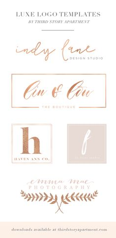 Luxe Logo Templates for small business owners, writers, bloggers, event planners, and photographers. Download at: thirdstoryapartment.com