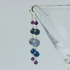Long blue purple silver earrings (blue fluorite, apatite and amethyst) £15.00