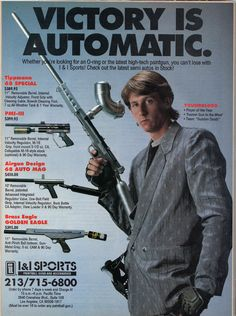 Yes, this is THE Dave Youngblood, of DYE Paintball, way back in the day. He had a thing for chromed out guns with stupidly long barrels, and business suits. Advertisement circa 1991.