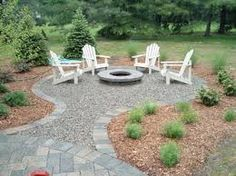 Pea gravel fire pit. I like the idea of blending different hardscape materials to add texture.