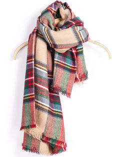 Shop Red Classic Plaid Fringe Scarve online. SheIn offers Red Classic Plaid Fringe Scarve & more to fit your fashionable needs.