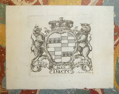 Armorial bookplate of Thomas Barrett-Lennard, 17th Baron Dacre (1717-1786)  Franks 18136 (Lennard, Baron), Dacre. Arms: Lennard quartering Barrett Motto: Pour bien desirer  Penn Libraries call number: GrC C1347 577f All images from this book