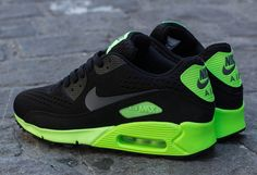 Nike Air Max 90 EM - Black / Dark Grey - Flash Lime