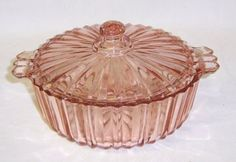 Hocking Pink FORTUNE Depression Glass 5 1/2 Inch CANDY DISH with Lid. $45.00 USD, via Etsy.