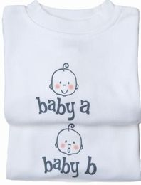 Baby A Baby B Twin Rompers by Just Multiples