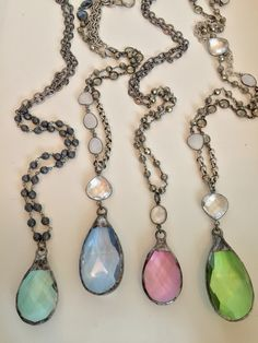 Mixed gemstones and colored crystals make up these beautiful spring time necklaces. For wholesale or retail purchases please email lisajilljewelry@gmail.com