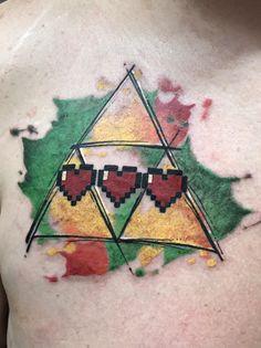 Zelda Tri force tattoo with 8 bit hearts. Another Zelda tattoo post inspired me to post mine. Visit blazezelda.tumblr.com