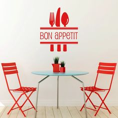 Bon Appetit With Cutlery Wall Sticker