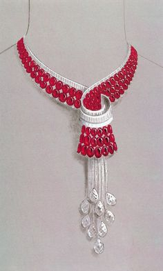 Design for a Mauboussin necklace submitted to the Maharajah of Indore, gouache.