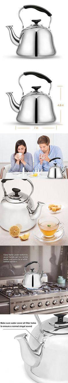 Stovetop Tea Kettle - 2-Quart Teapot - 18/10 Stainless Steel by AMFOCUS