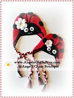 Crochet LADYBUG HAT PDF Pattern Sizes Newborn to Adult Boutique Design - No. 29 by AngelsChest - Includes British and American Crochet Terms. $6.99, via Etsy.