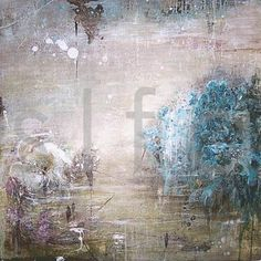 teal mist ~ mixed media ~ by linelle lemoine
