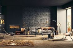 Incredible Rustic-Industrial Living Room For Apartment Design with Black Brick Wall Surface and Interesting Book Tiered Storage Rod