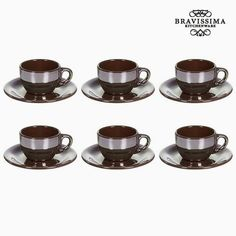 Tea set China crockery Burgundy pcs) - Kitchen's Deco Collection by Bravissima Kitchen Coffee Cup Set, Tea Cup Set, Cup And Saucer Set, Cappuccino Cups, Espresso Cups Set, Bordeaux, Brown Plates, Kitchen In, Gadget