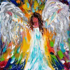Original oil ANGEL PALETTE KNiFE painting by Karensfineart on Etsy