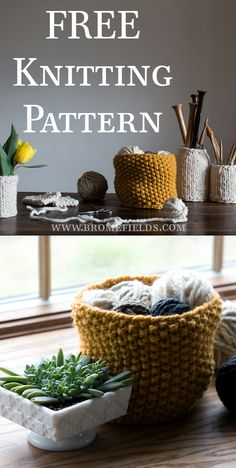 FREE Basket Knitting Pattern. So stylish! I want to make one in the exact same colour.