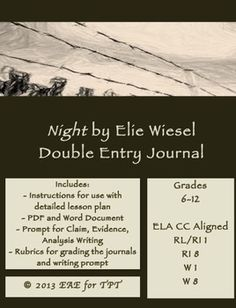 Night by Elie Wiesel Double Entry Journal Plans, Templates