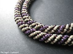 Grape Vanilla Russian Spiral Rope - really a variant of netting. #seed #bead #tutorial