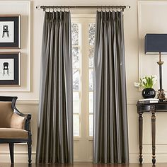 CHF Marquee Sand Polyester Room Darkening Standard Lined Single Curtain Panel at Lowe's. Panel is constructed of a lovely faux silk fabric with subtle shimmer and all-over textured ground. Lined solid-color drapery features a pinch-pleat Faux Silk Curtains, Tab Curtains, Pinch Pleat Curtains, Pleated Curtains, Room Darkening Curtains, Lined Curtains, Colorful Curtains, Silk Fabric, Open Concept