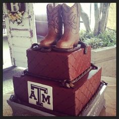 Cowboy Boots and Texas AM Groom's Cake - Too Cute To Cut Bakery Garland, Tx